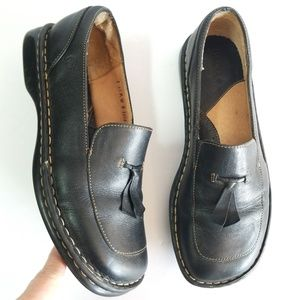Born black leather tassel square toe loafers 8